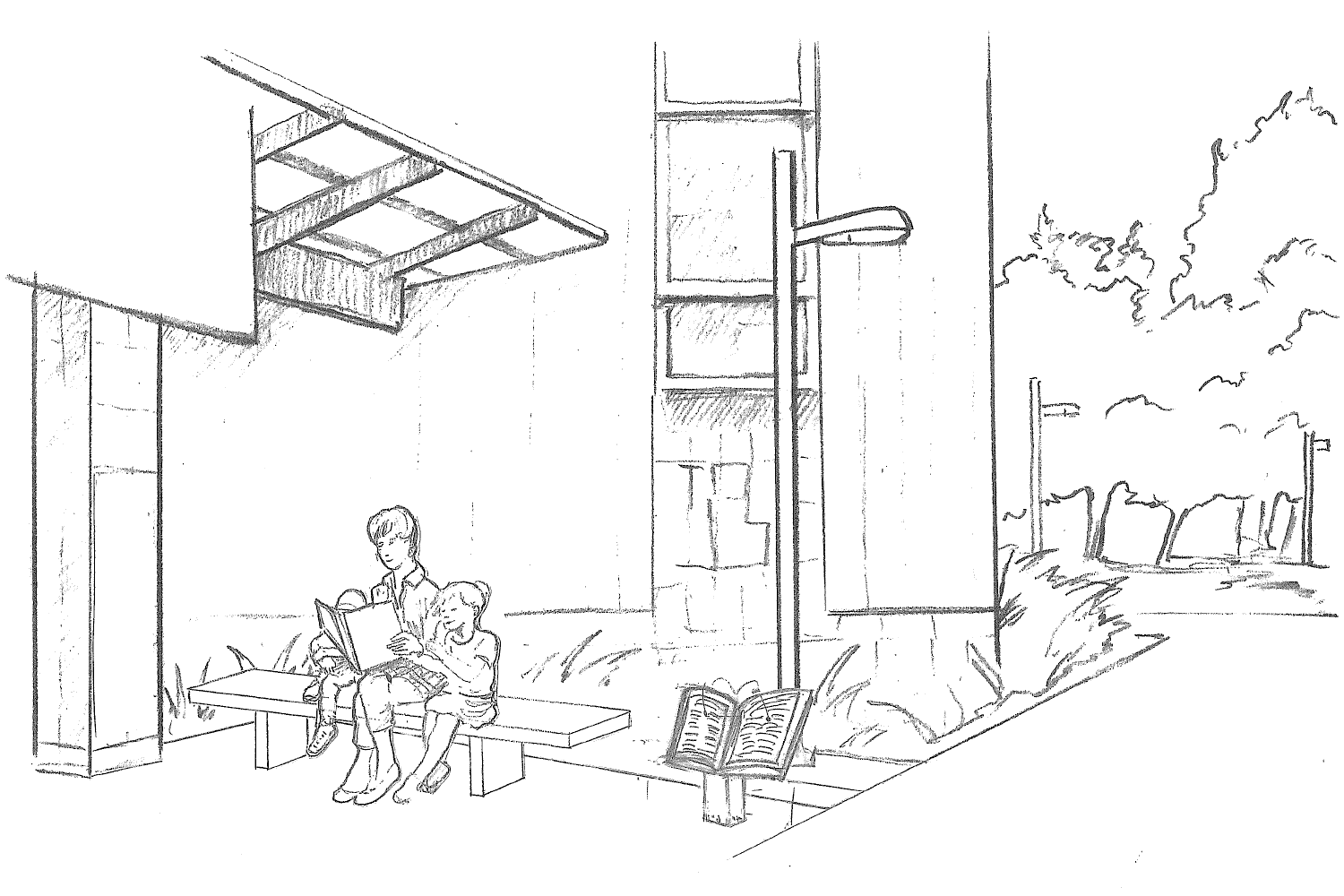 Sketch of Pat Dando Plaza with Statue and Plaque
